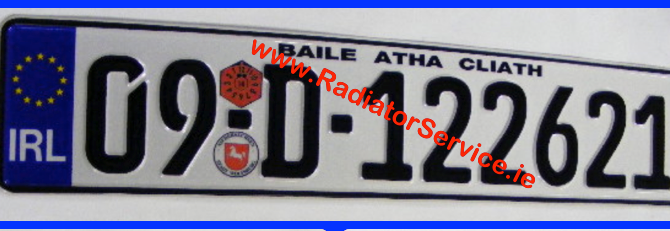 IRL band German pressed number plates are available from Radiator Service Dublin and made while you