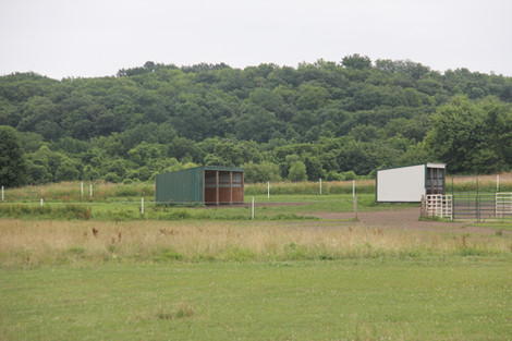 Shelters and round pen in pasture.