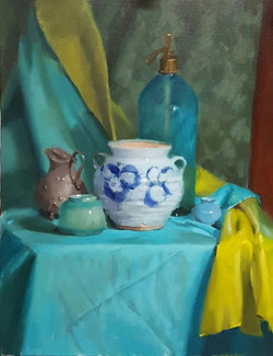 Still LIfe with Blue Soda Fountain