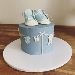 A simply cute baby shower cake and iced