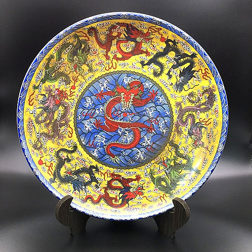 Nine Dragons Tea Plate (Include Shipping for Bulky Item)