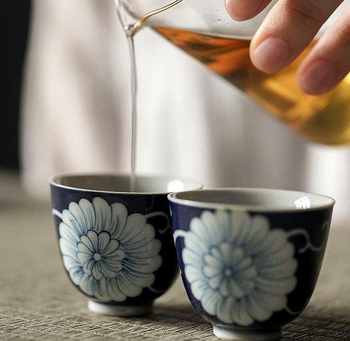 Qinghua Blue Chrysanthemum Teacup