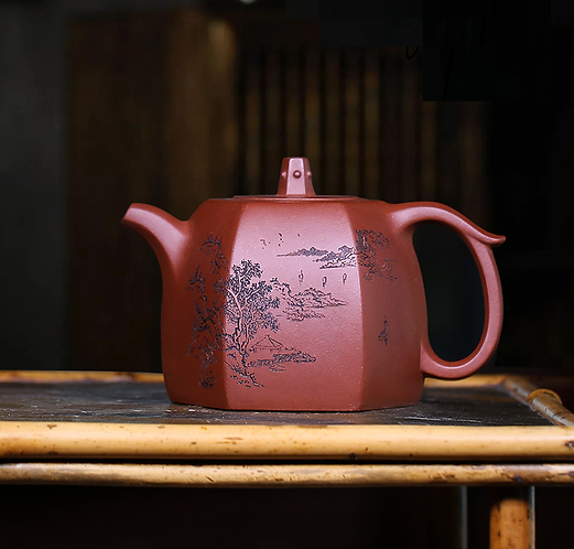 Yixing Zisha Base Clay River Cloud Teapot (175ml)