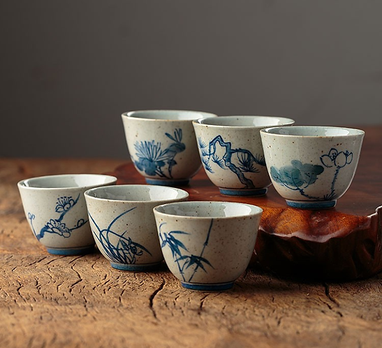 Season Spring Qinghua  Teacups