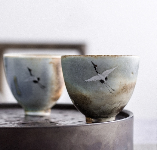 Wood Fired Volcanic Ash Crane Teacup