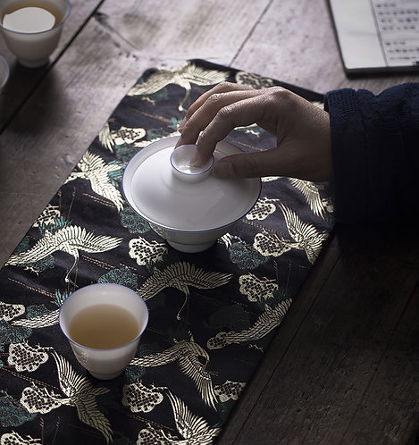 Diamond Crane Silk Brocade Tea Set Cloth