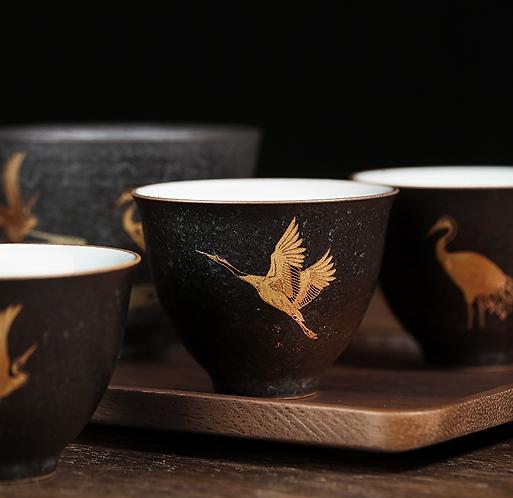 GoldCrane Migration Black Clay Teacup