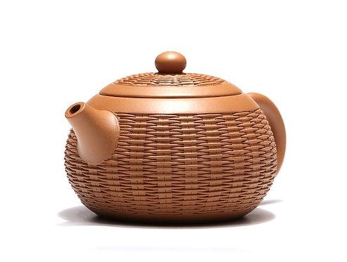 Yixing Zisha Aged Fault Clay Bamboo Basket Teapot (340ml)