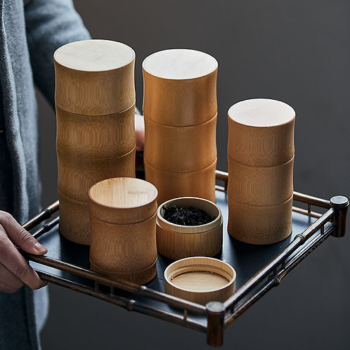 Delux Japanese Bamboo Tea Container