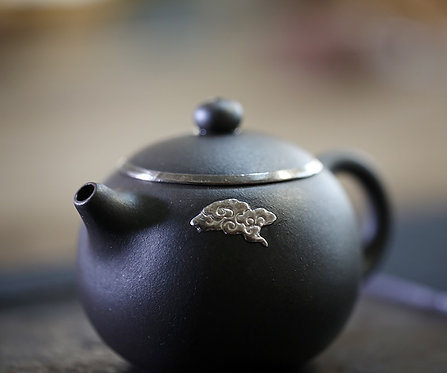 Yixing Zisha Base Clay Silver Cloud Xishi Teapot (210 ml)