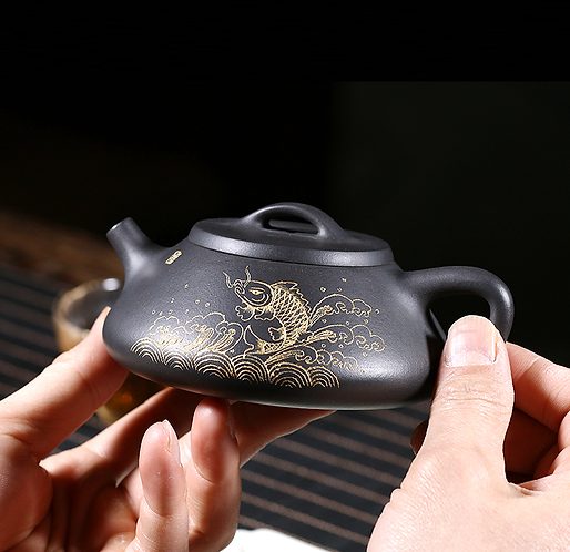 Yixing Zisha Black Clay Over the Dragon Gate Teapot (220ml)