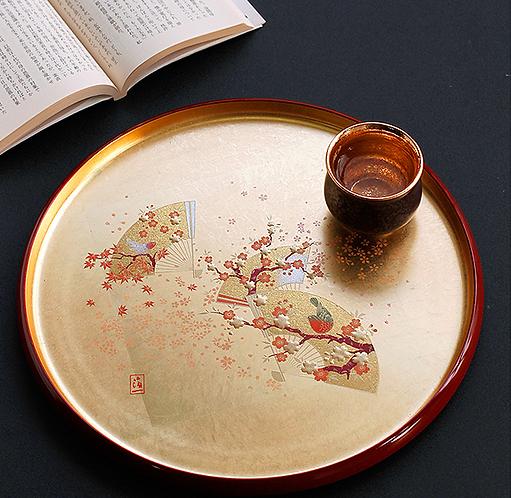 Pure Gold Sakura Blossom Lacquerware Plate
