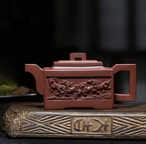 Yixing Zisha Aged Purple Clay Dragon Horse Power Teapot (270ml)