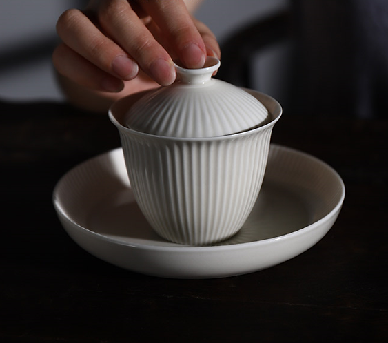 Ivory White Ripple Gaiwan (130ml)
