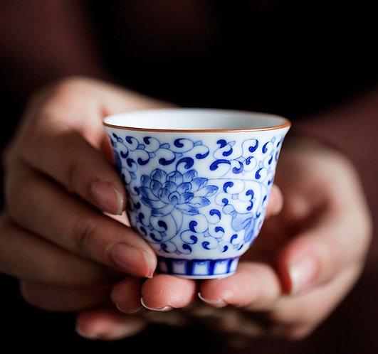 Blue Lotus Qinghua Teacup
