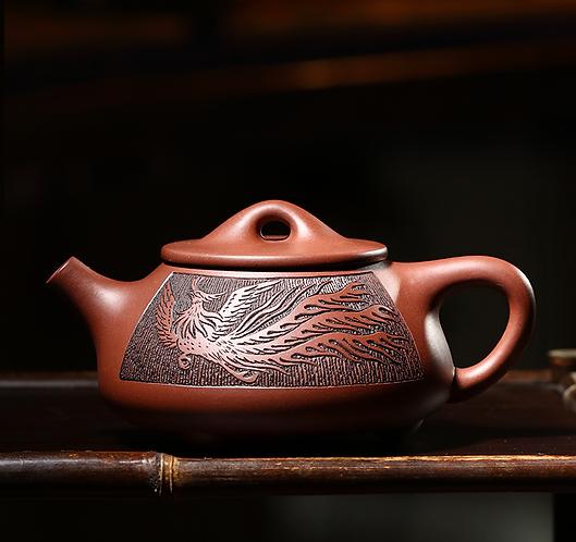 Yixing Zisha Aged Purple Clay Sun Phoenix Teapot (390ml)