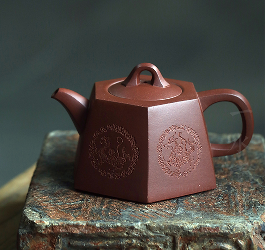 Yixing Zisha Aged Purple Clay Four Ancient Saints Teapot (250ml)