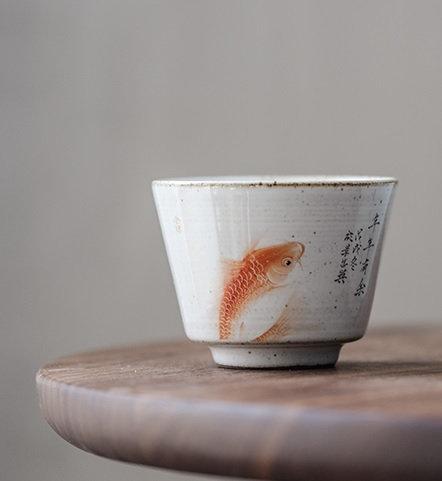 Hand Painted Fish Play Glaze Teacup