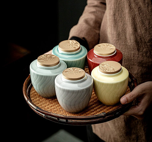 Delux Ceramic Tea Jar (Include Shipping for Bulky Item)