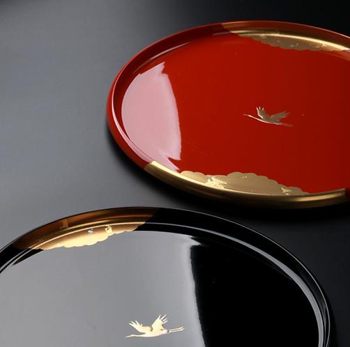 Lone Crane Lacquerware Plate