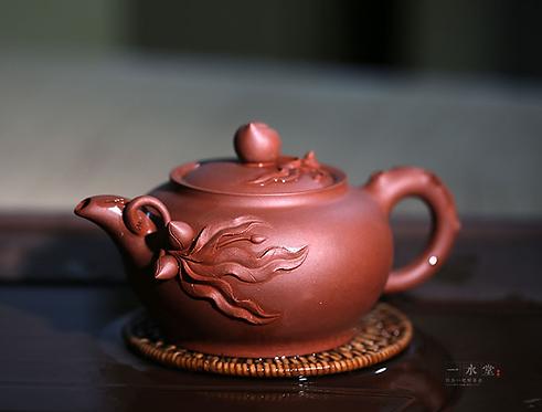 Yixing Zisha Base Clay Peach in Vine Teapot (410ml)