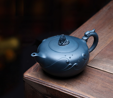 Yixing Zisha Ink Green Clay Big Fish Xishi Teapot (290 ml)