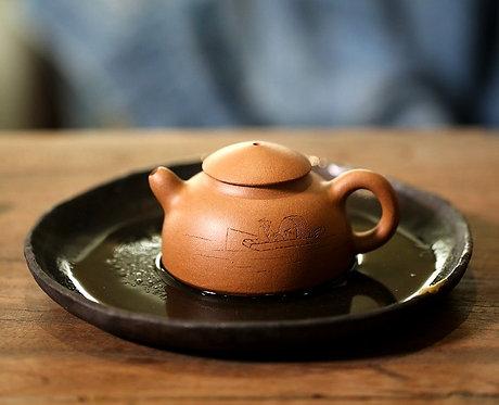 Yixing Zisha Aged Fault Clay Old Fisherman Teapot (100ml)