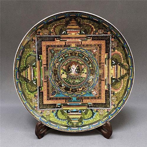 Tibetan Thangka Buddha Tea Plate (Include Shipping for Bulky Item)