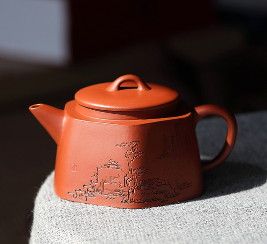 Yixing Zisha Zhu Clay Hexagon Deep Village Teapot (220ml)
