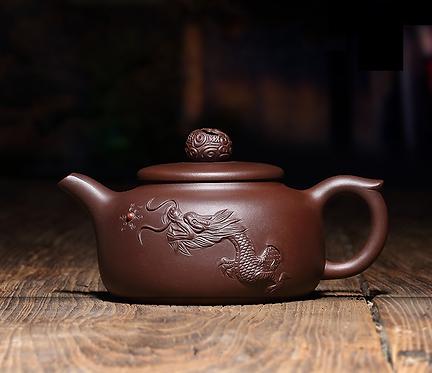 Yixing Zisha Aged Purple Clay Roaring Dragon Teapot (270ml)