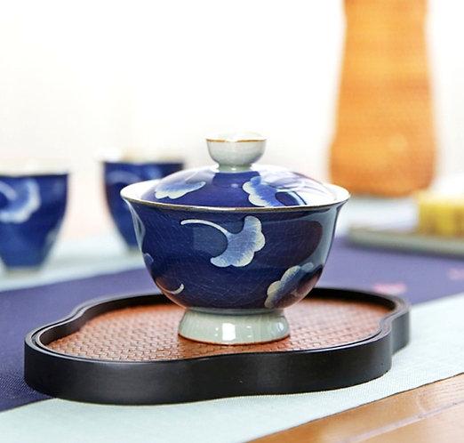 Cracked Glazed Qinghua Falling Ginkgo Gaiwan (160 ml)