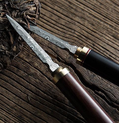 Damascus Puerh Knife (Rosewood / Blackwood)