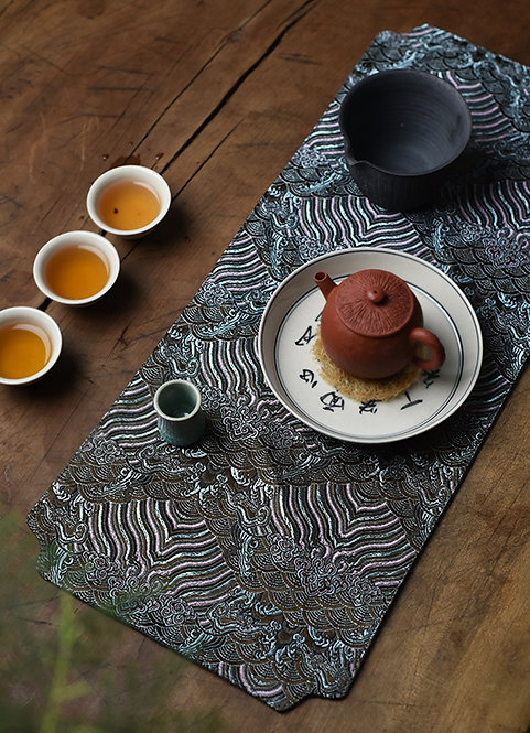 Gold Sand & Silver Cloud Silk Brocade Tea Set Cloth