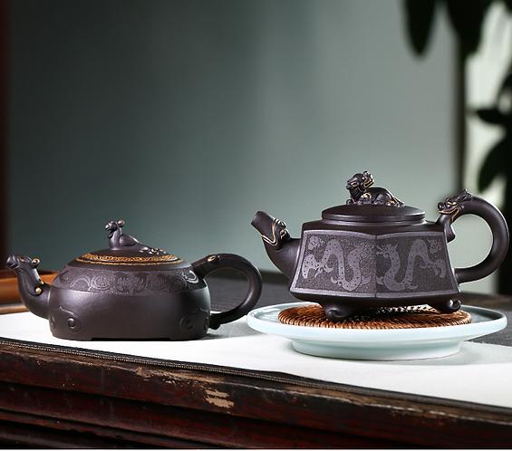 Yixing Zisha Aged Purple Clay Phoenix & Dragon Romance Teapot (340ml)