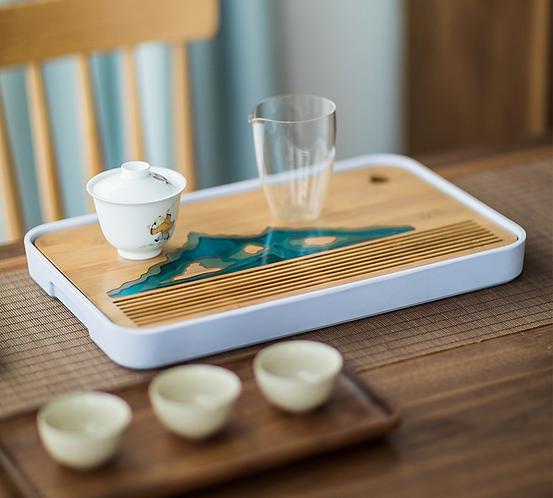Blue Mountain Epoxy Tea Tray (Include Shipping for Bulk Item)
