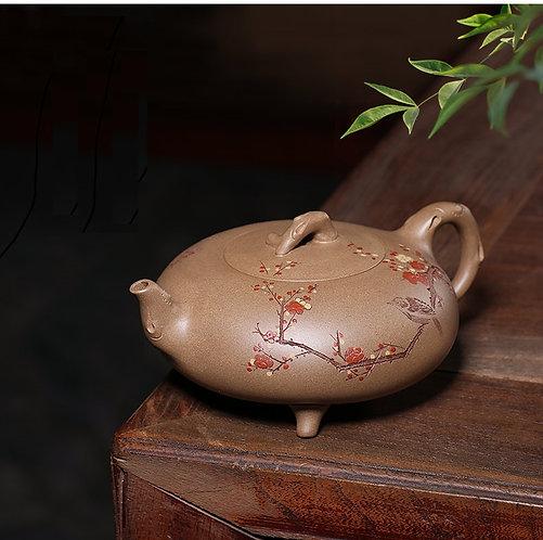 Yixing Zisha Aged Fault Clay Sparrow & Plum Teapot (330ml)