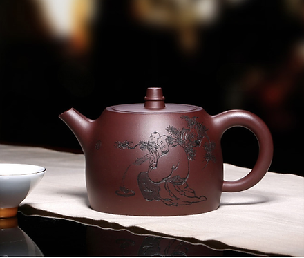 Yixing Zisha Aged Purple Clay Ancient Bell Teapot (480ml)