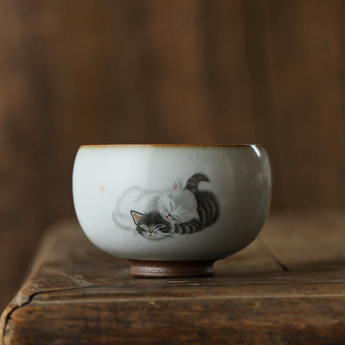 Twin Cats Crackled Glaze Teacup
