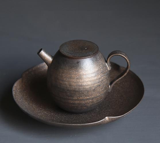 Metallic Glaze Coarse Clay Teapot