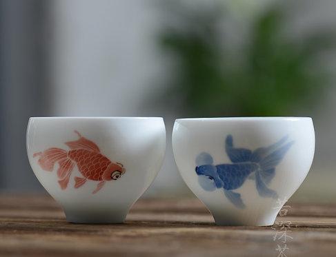 Qinghua Bubble Eye Gold Fish Teacup