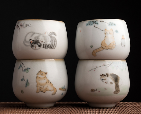 Cat Family Teacups