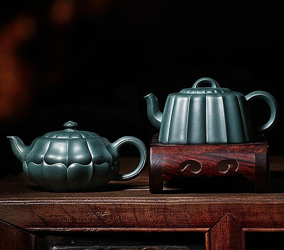Yixing Zisha BuShan Green Clay Hexagon Lotus Leaf Teapot (260ml)