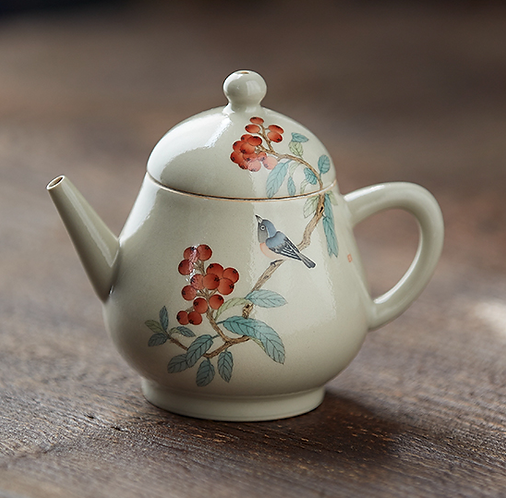 Handpainted Loquat with Sparrow Teapot