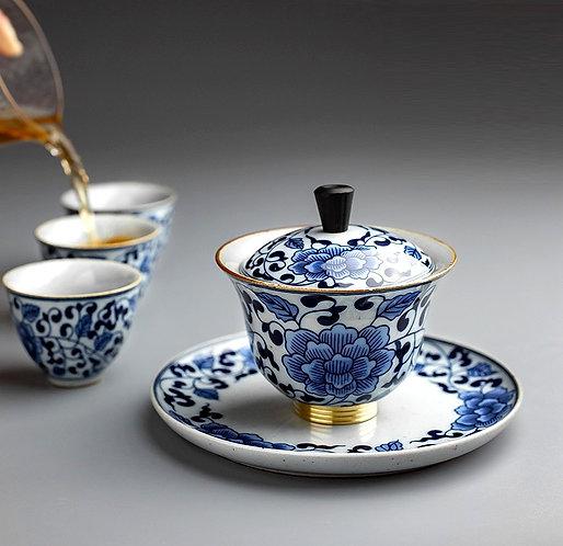 Qinghua Blue Garden Gaiwan