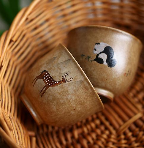 Handpainted Elk & Panda Teaup