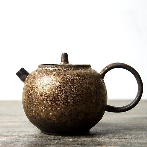 Rusty Bronze  Pearl Coarse Clay Teapot