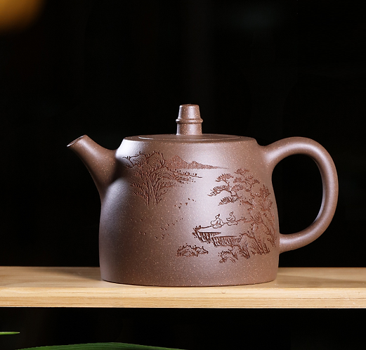 Yixing Zisha Aged Fault Clay Crane Over Dessert Teapot (225ml)