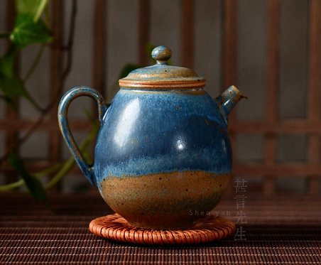 Ocean Pearl Woodfired Teapot