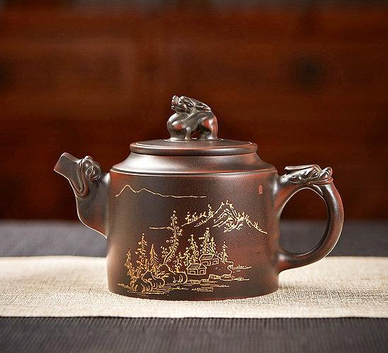 Gold Village Nixing Red Clay Dragon Teapot