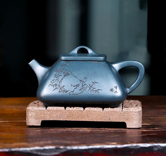 Yixing Zisha Ink Green Clay Boundless Teapot (170 ml)